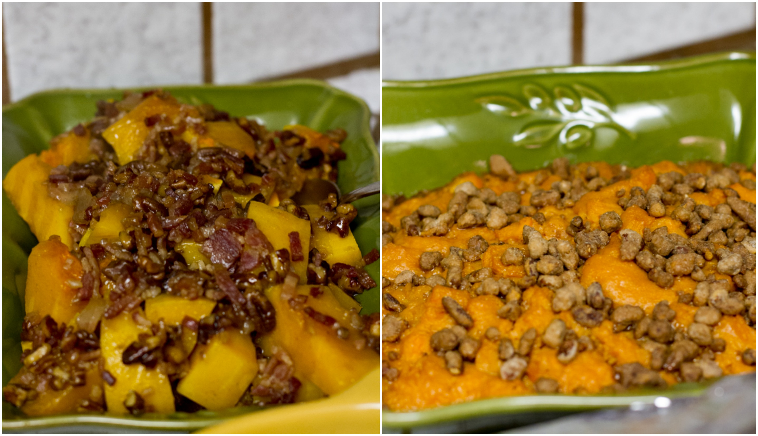 Butternut Squash with Pecans and Bacon, Sweet Potato Casserole