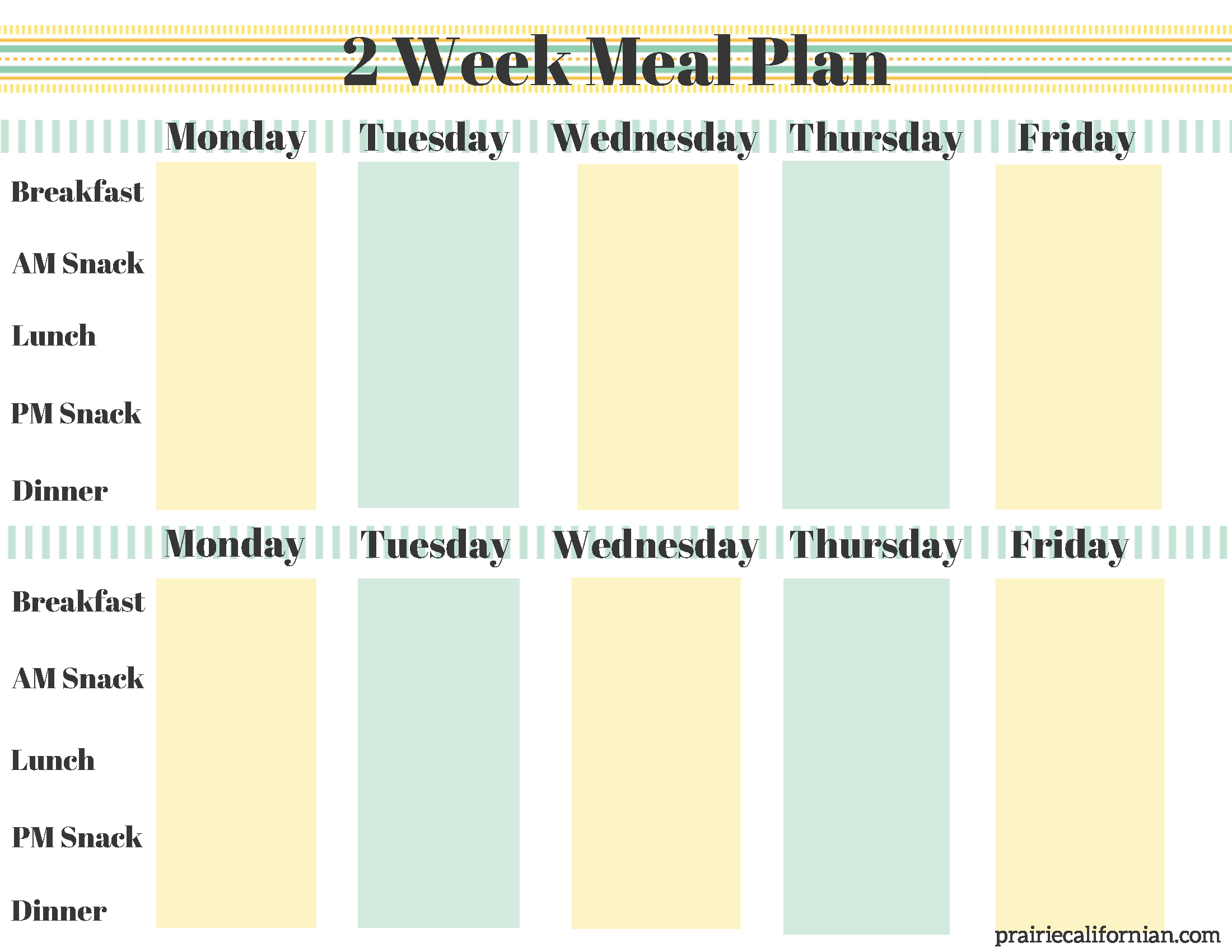 A new year of fitness healthy eating for Two week meal plan template