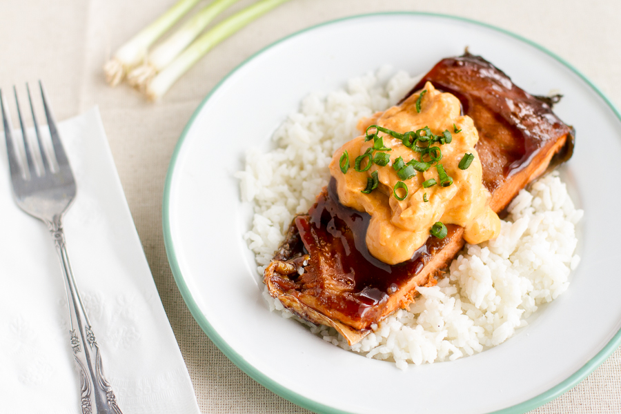 Asian Salmon with Sriracha Cream Sauce