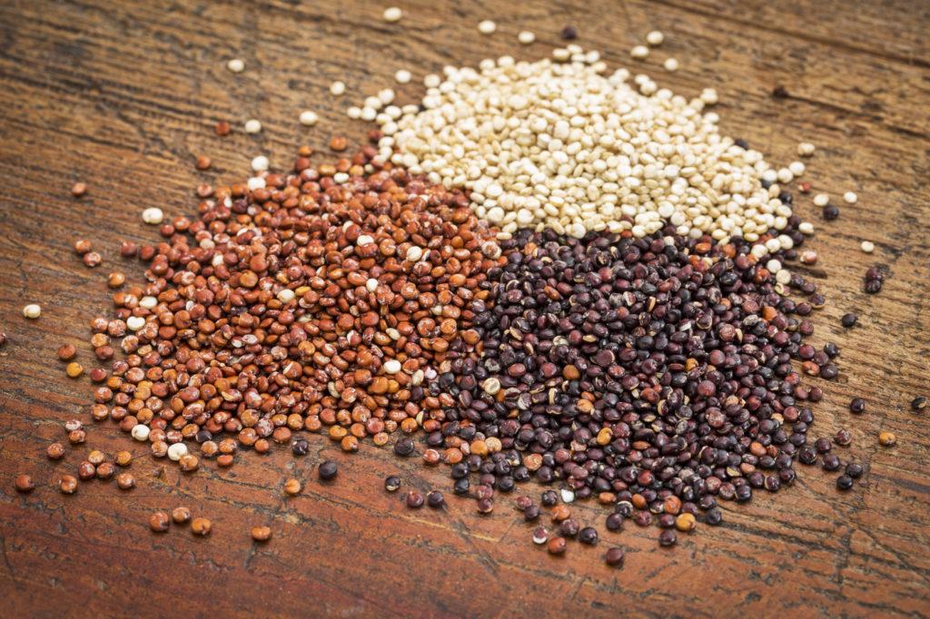 red, white and black quinoa