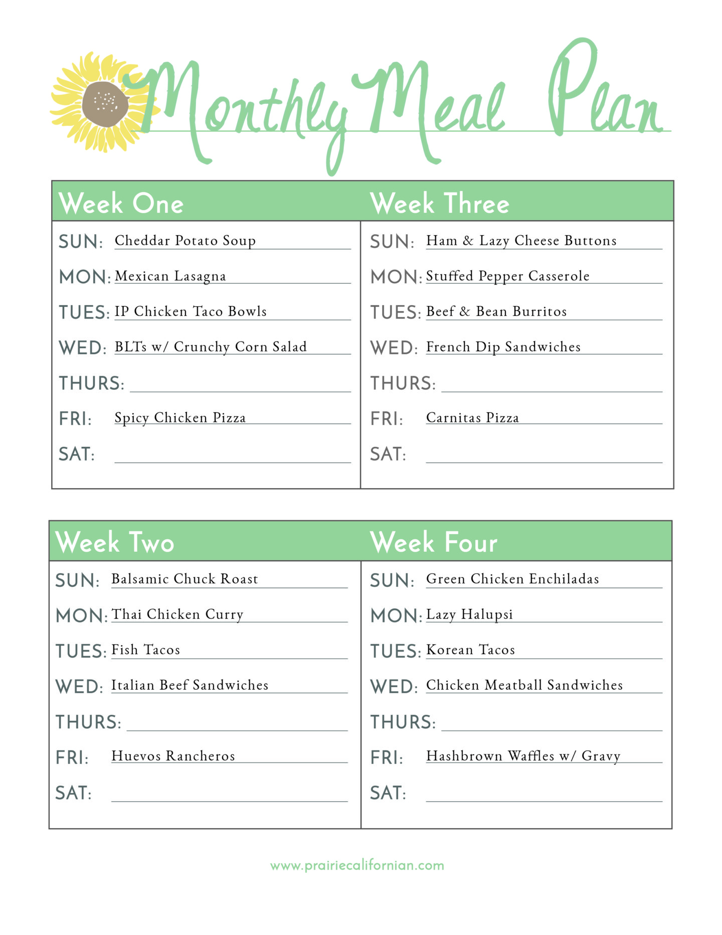 image about Meal Plan Printable called Regular monthly Supper System Printable 1-01 -